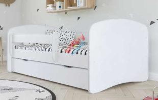 Levná bílá dětská postel se zábranou a úložným prostorem
