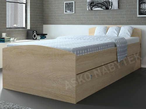 Vyvýšená jednolůžková postel dub sonoma s úložným prostorem