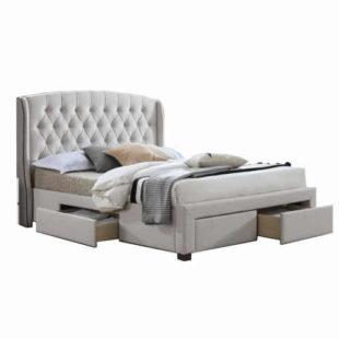 Čalouněná manželská postel v krémovém provedení s úložným prostorem