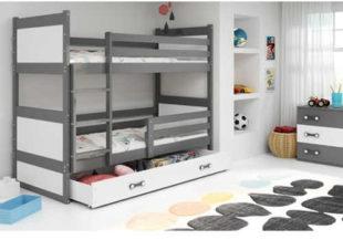 Dětská patrová postel se zábranou v módních barvách