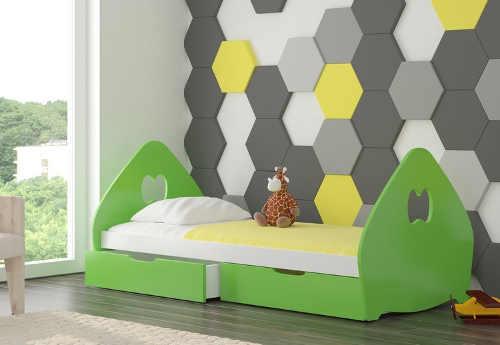 Dětská postel s matrací, roštěm a úložným místem