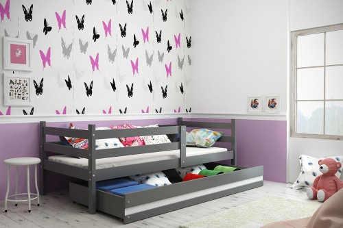 Dětská postel se zábranou a úložným prostorem v provedení grafit-bílá