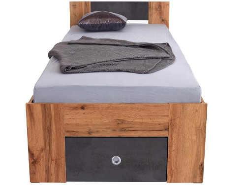 Jednolůžková postel s nočním stolkem a výsuvnou zásuvkou