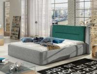 Manželská čalouněná postel s dostatečným prostorem a úložným místem