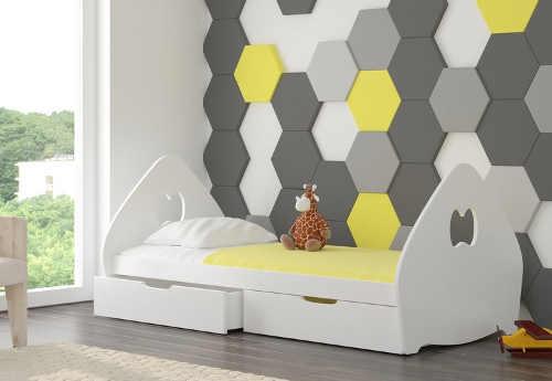 Moderní postel do dětského pokoje s roštěm a matrací