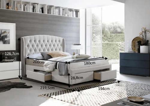 dvoulůžková čalouněná postel s úložným prostorem