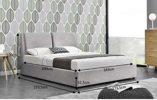 manželská čalouněná postel s úložným prostorem