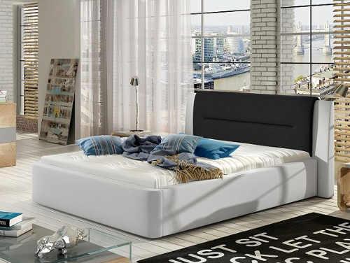 moderní čalouněná manželská postel v různém barevném provedení