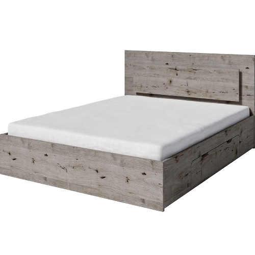 Dvoulůžková postel v moderní dekoru dub wenligton s úložným prostorem