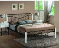 Elegantní manželská postel v kombinaci kov a dřevo