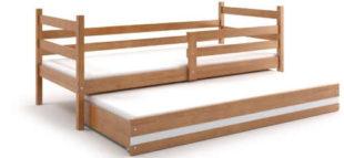 Jednolůžková postel z masivu s praktickou přistýlkou
