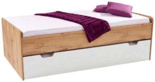 Maxi postel s výsuvným lůžkem v dekoru dub wotan-bílá
