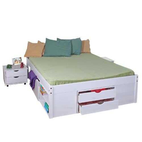 Multifunkční dvoulůžková postel z masivu v bílém provedení