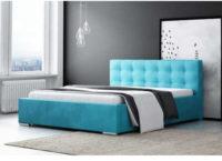 Elegantní čalouněná manželská postel v modrém provedení
