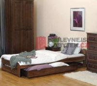 Jednolůžková postel z kvalitního dřeva v impozantním dekoru