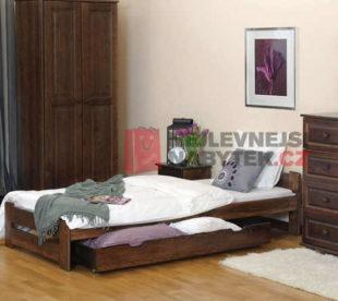 Jednolůžková postel z kvlaitního dřeva v impozantním dekoru