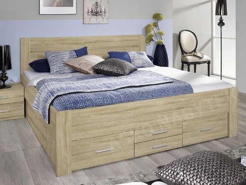 Moderní dvoulůžková postel v dekoru dub sonoma s úložným prostorem