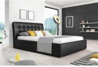 Moderní manželská postel potažená černou eko kůží