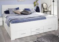 Bílá manželská postel Isotta 180 x 200 cm s úložnými šuplíky