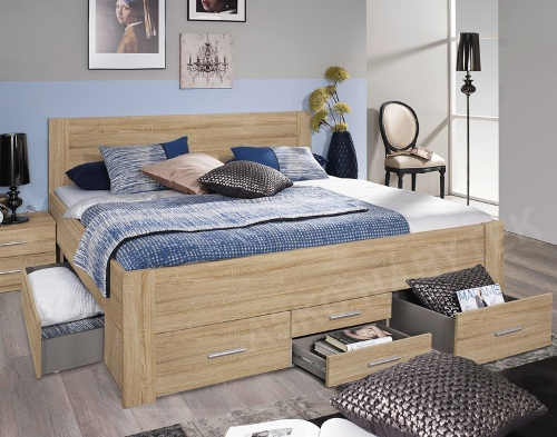 dvoulůžková postel v dekoru dub sonoma