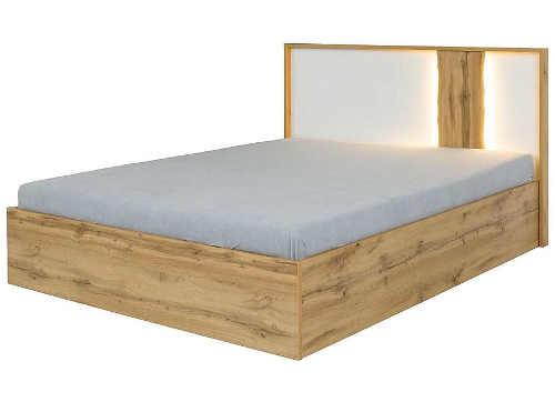 Levná dřevěná manželská postel s osvětleným čelem