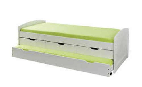moderní postel s výsuvným lůžkem a úložným prostorem