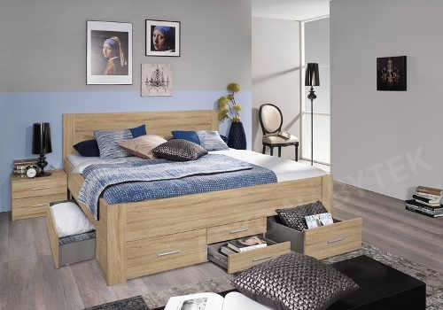 praktická prostorná postel v moderním dekoru