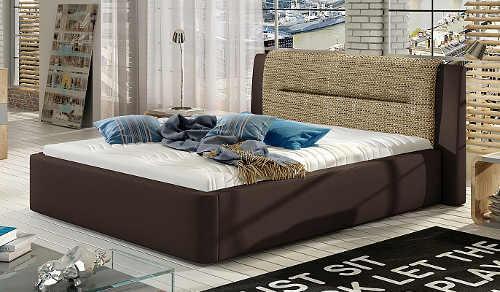 Hnědá čalouněná postel s výrazným světlejším čelem