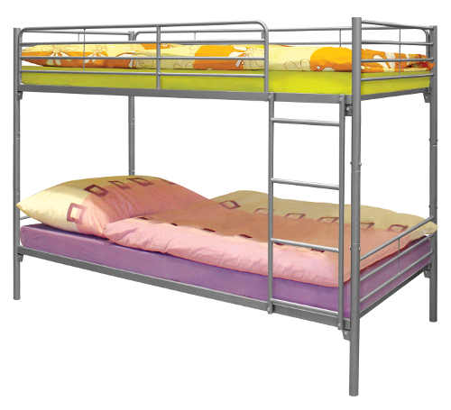 Levná kovová patrová postel s velkou nosností