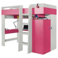 Růžovo-bílá patrová postel s šatní skříní a pc stolkem