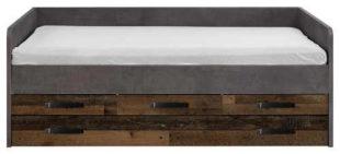Výsuvná postel 120x200 cm s výrazným hnědým dřevěným dekorem