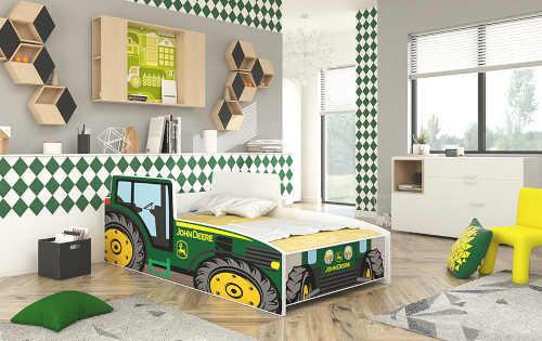 Dětská kvalitní postel s matrací v provedení traktor zelený