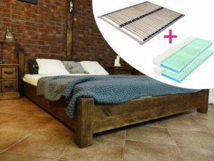 Dvoulůžková postel z borového dřeva včetně roštu i matrace