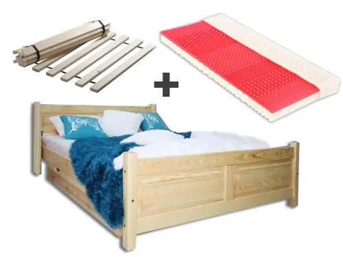 Manželská postel z masivu včetně matrace a roštu
