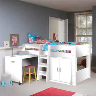 Víceúčelová dětská postel se skříňkou a psacím stolem