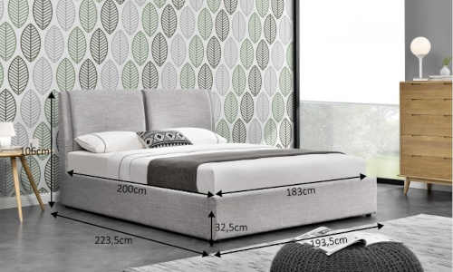 čalouněná postel s roštem a úložným místem
