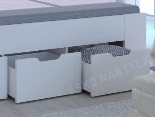manželská postel s úložným místem vpředu i po stranách