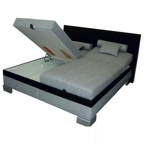 polohovací manželská postel černo-šedá