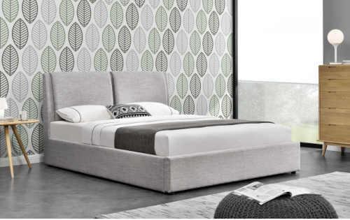 šedá čalouněná manželská postel