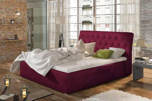 velká postel v různých barvách čalounění