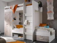 Dětská dvoupatrová postel v bílém provedení s úložným místem