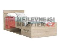 Jednolůžková postel v moderním dekoru s úložným prostorem