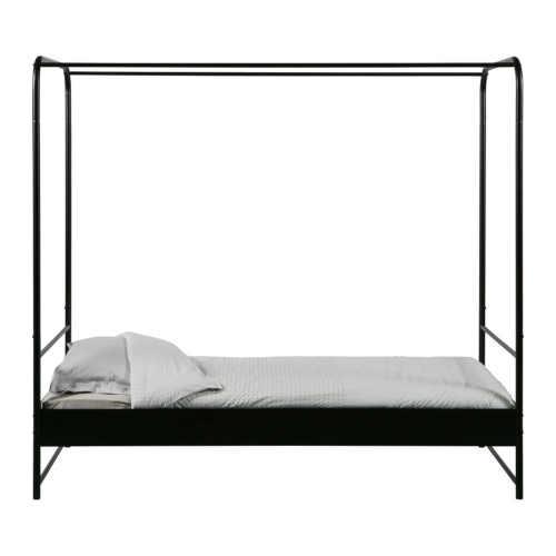 Kovová jednolůžková postel s nebesy v moderním designu