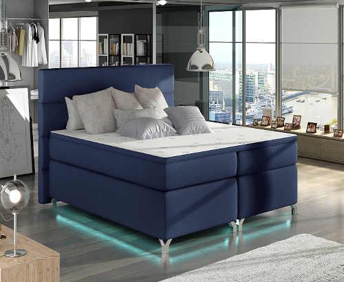 Moderní boxspring manželská postel s LED podsvícením