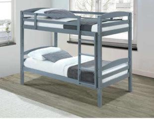 Praktická patrová postel v univerzálním šedém provedení