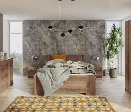 manželská postel s úložným místem z lamina