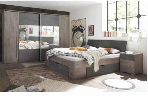 moderní manželská postel s čalouněným čelem