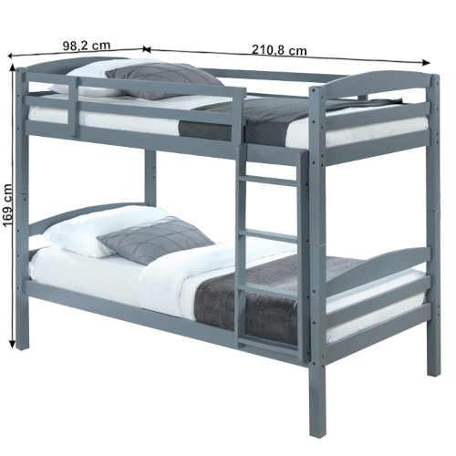 moderní patrová postel v šedé barvě
