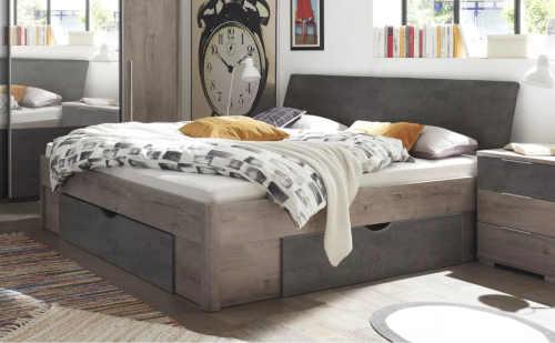 prostorná dvoulůžková postel dub-antracit