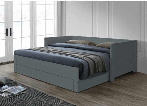 šedá rozkládací postel s úložným místem